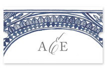 This is a blue wedding favor label by Katharine Watson called Ornate Watercolor Frame with standard printing on uncoated sticker paper in sticker.