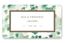This is a green wedding favor label by Sara Hicks Malone called Painted with standard printing on uncoated sticker paper in sticker.