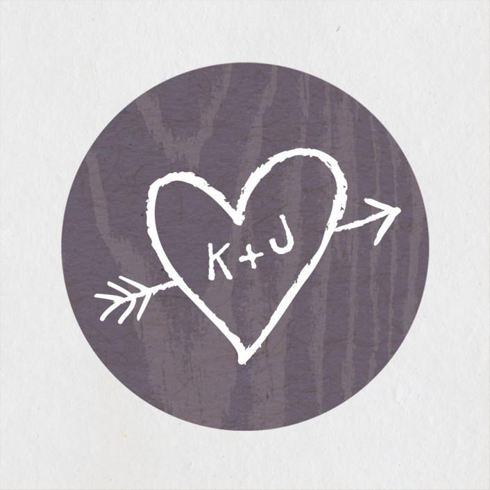 """""""Garden Lights"""" - Rustic Wedding Favor Stickers in Plum by Hooray Creative."""