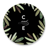 This is a black wedding favor label by Haley Warner called Parting Branches with standard printing on uncoated sticker paper in sticker.
