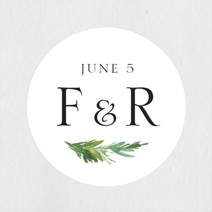 """Simple Pine Branches"" - Rustic Wedding Favor Stickers in Vanilla by Mere Paper."