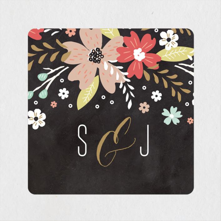 """""""Chalkboard Floral"""" - Wedding Favor Stickers in Peony by Kristie Kern."""