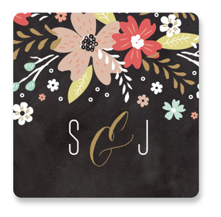 Chalkboard Floral Wedding Favor Stickers