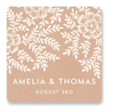 Leaves and Kraft Wedding Favor Stickers