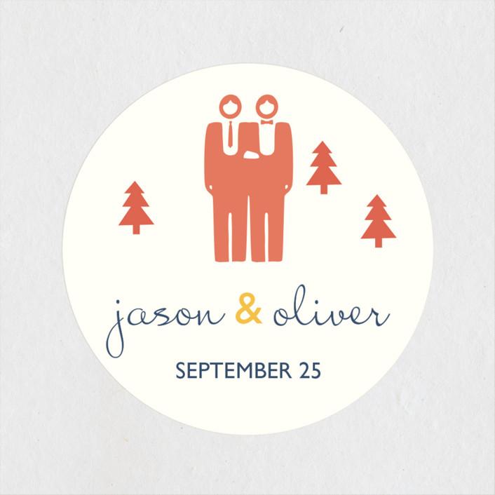 """""""Two Grooms Destination"""" - Wedding Favor Stickers in Denim by leslie hamer."""