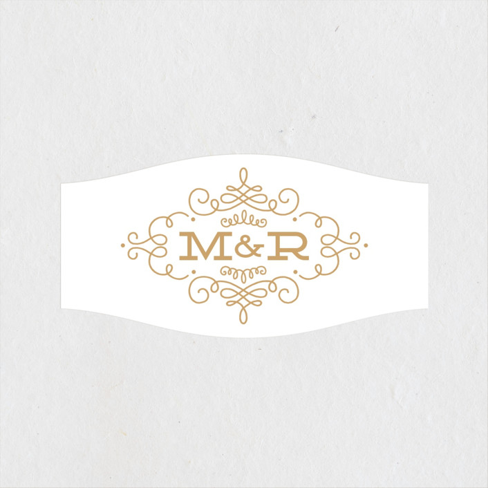 """Ornate Monogram"" - Preppy Wedding Favor Stickers in Faux Gold by Kristen Smith."