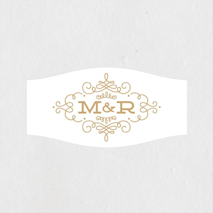 """""""Ornate Monogram"""" - Preppy Wedding Favor Stickers in Golden by Kristen Smith."""