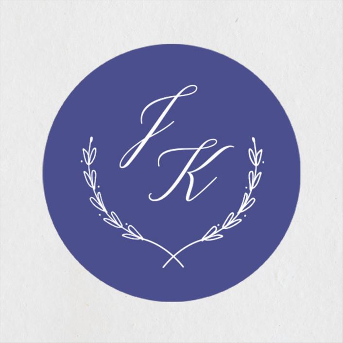 """United"" - Wedding Favor Stickers in Cobalt by Susan Brown."
