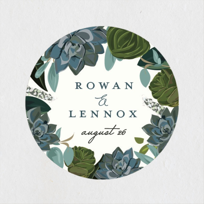 """Echeveria"" - Wedding Favor Stickers in Prussian Blue by Susan Moyal."