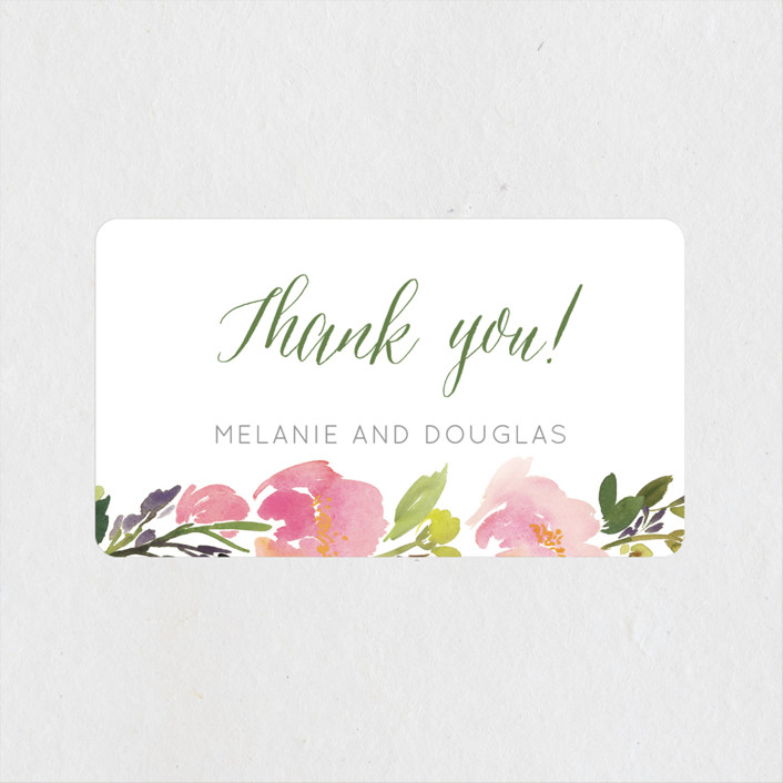 """Watercolor Floral"" - Wedding Favor Stickers in Olive by Yao Cheng Design."