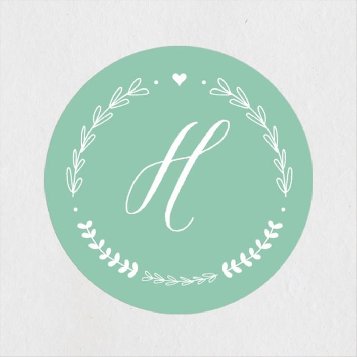 """Always"" - Wedding Favor Stickers in Burnt Rose by Susan Brown."