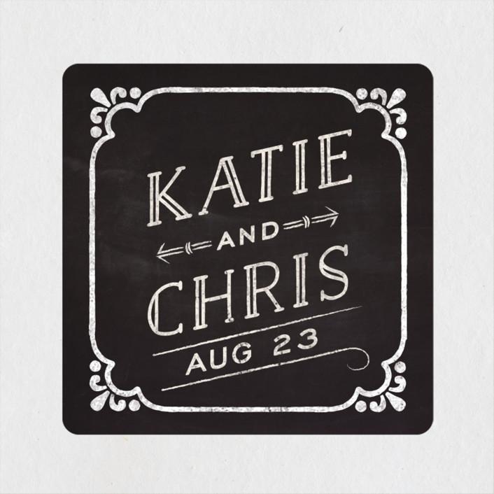 """Slated Forever"" - Rustic Wedding Favor Stickers in Chalkboard by GeekInk Design."