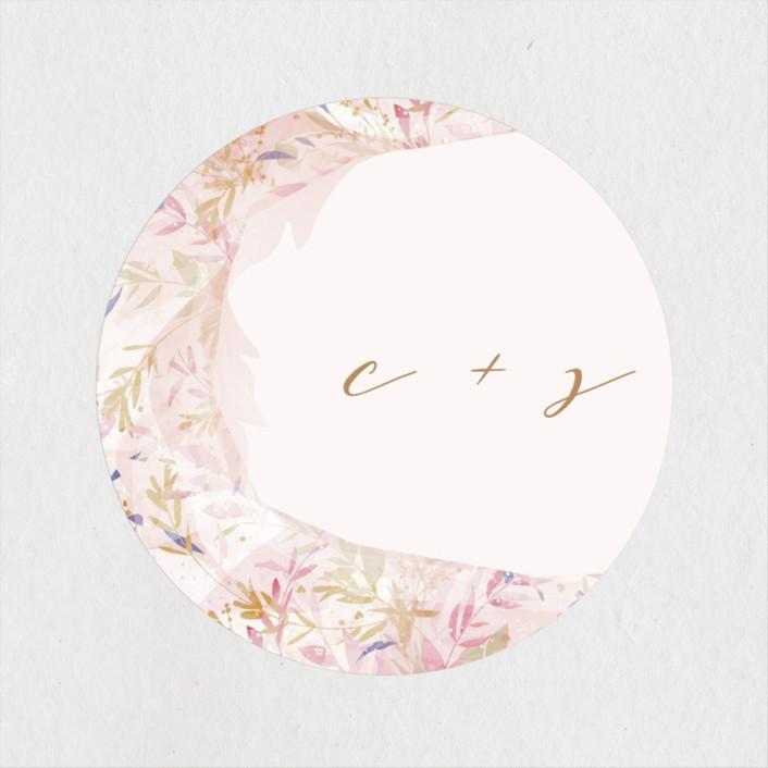 """Fantasy Floral Bride"" - Wedding Favor Stickers in Blush by Phrosne Ras."