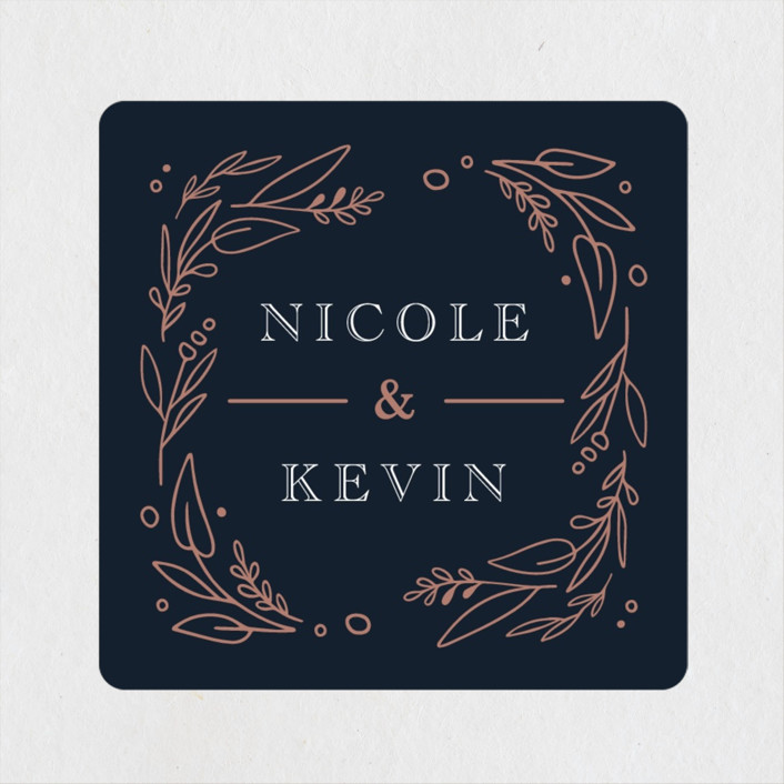 """""""Entwined"""" - Wedding Favor Stickers in Navy by Kristen Smith."""