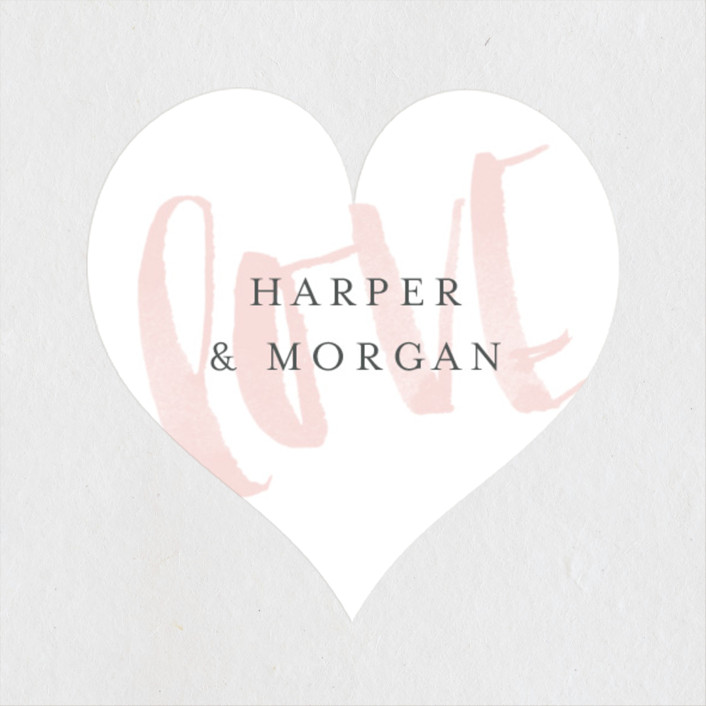 """Bare Love"" - Modern Wedding Favor Stickers in Blush by Sara Hicks Malone."
