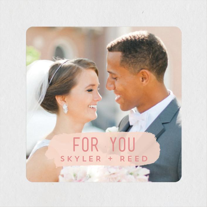 """Brush"" - Modern Wedding Favor Stickers in Carnation by Half Pint Studio."