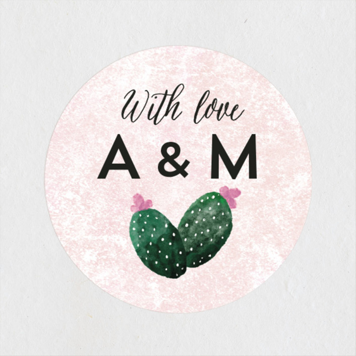 """""""Cacti"""" - Wedding Favor Stickers in Rose Crystal by Cass Loh."""
