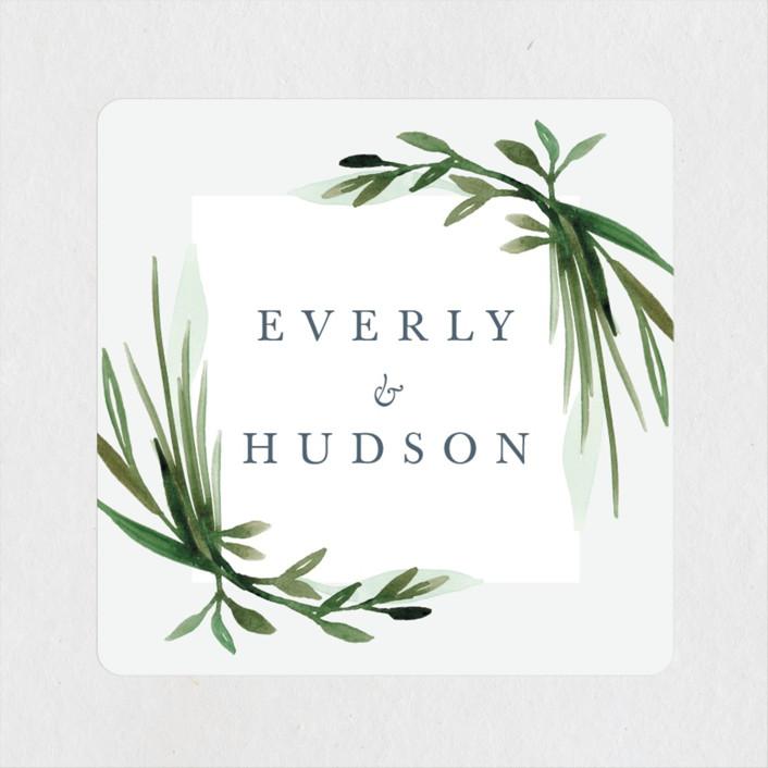 """Botanical Frame"" - Wedding Favor Stickers in Fern by Kate Ahn."