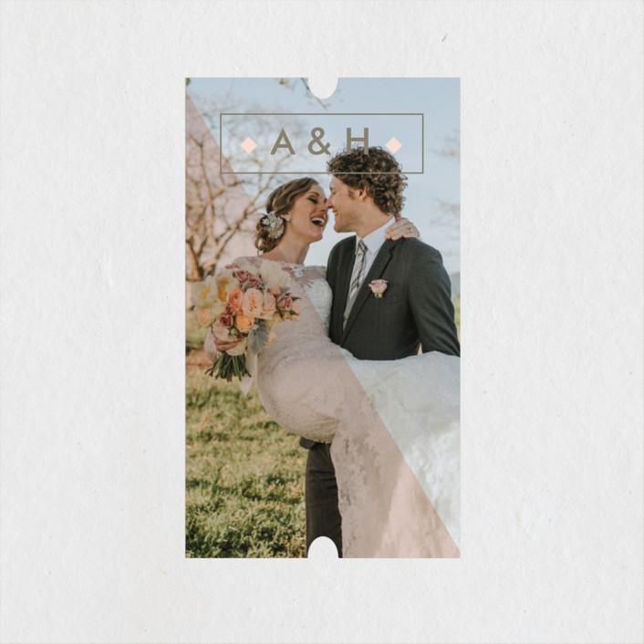 """Modern Barn Wood"" - Rustic Wedding Favor Stickers in Rose by Johanna McShan."