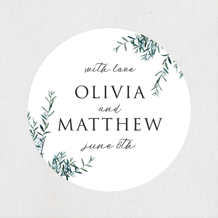 """Fresh Sage"" - Wedding Favor Stickers in Olive by Christie Kelly."