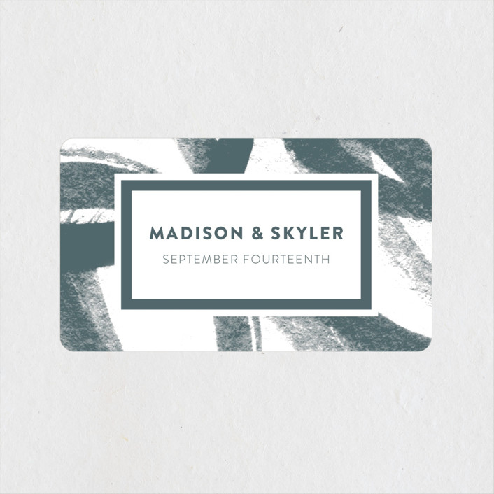 """Urban Sophisticate"" - Modern Wedding Favor Stickers in Charcoal by Carol Fazio."