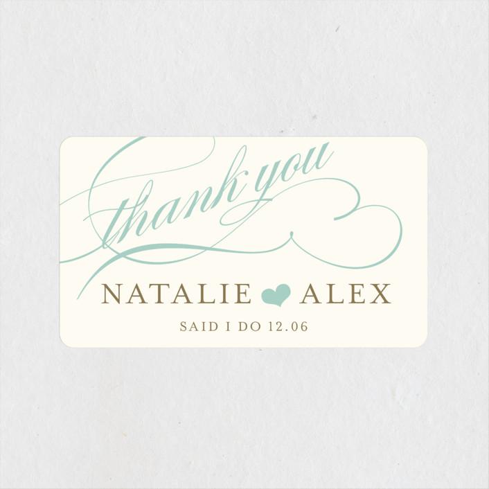 """""""Winter Flourish"""" - Wedding Favor Stickers in Petal Pink by annie clark."""