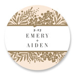 This is a yellow wedding favor label by Alethea and Ruth called Gilded Floral Frame with standard printing on uncoated sticker paper in sticker.