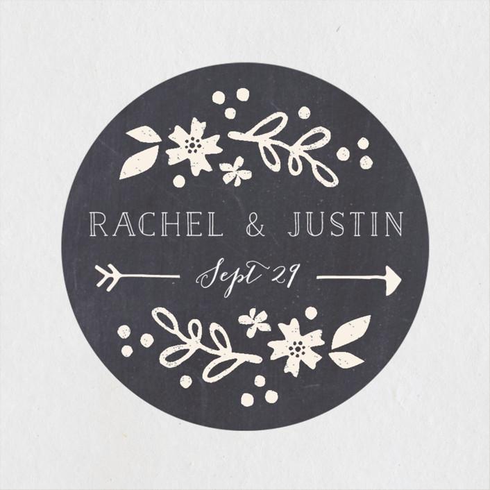 """Alabaster Florals"" - Rustic Wedding Favor Stickers in Slate by Jennifer Wick."