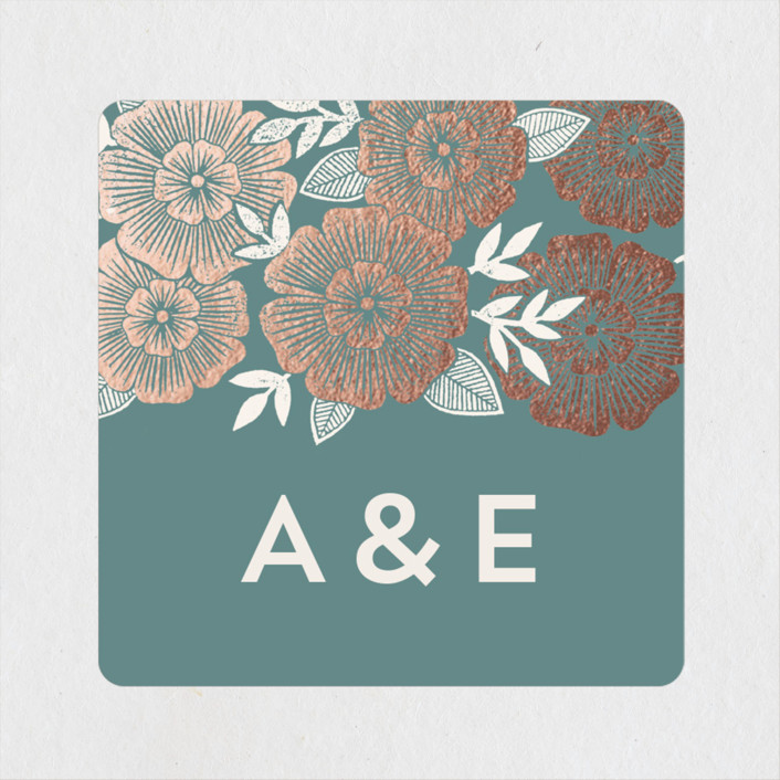 """""""Asher Floral"""" - Wedding Favor Stickers in Sage by Katharine Watson."""