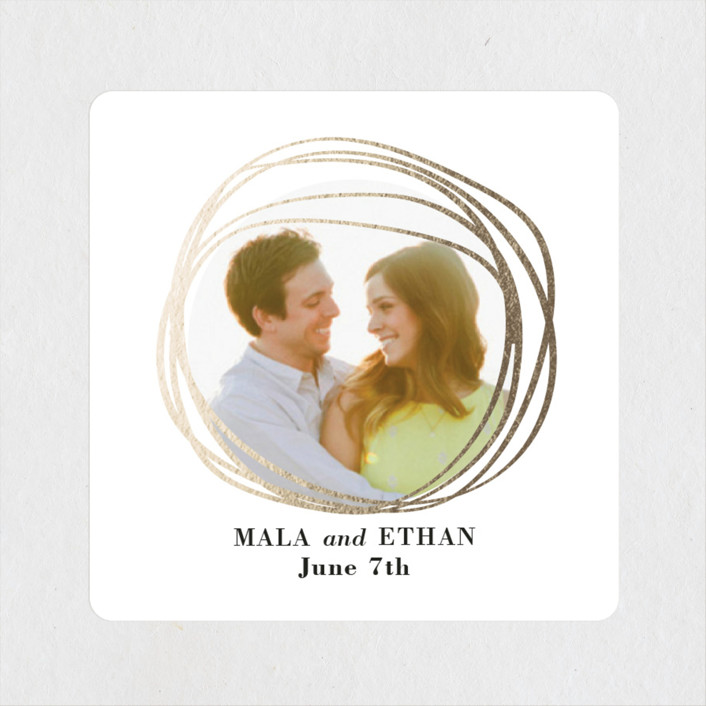 """""""The Big Day"""" - Bohemian, Modern Wedding Favor Stickers in Golden by R studio."""