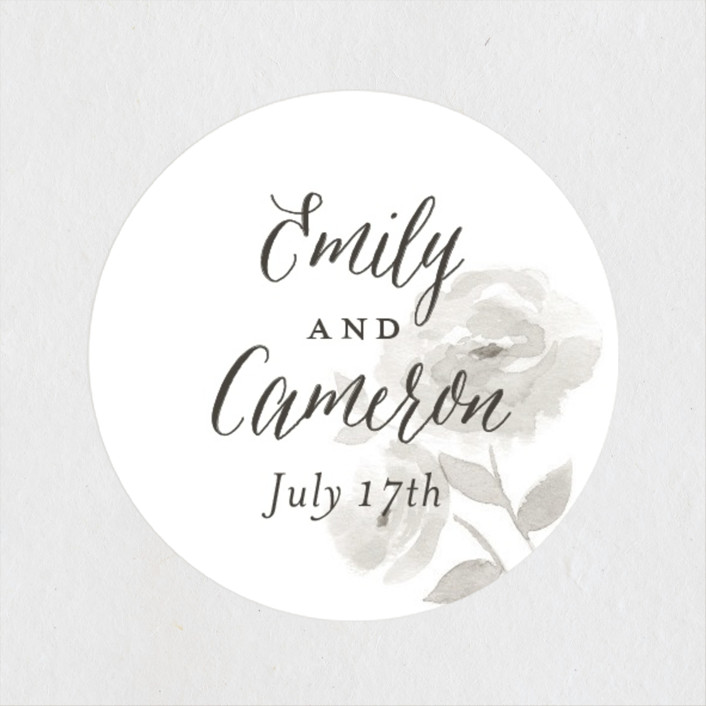 """Watercolor Floral"" - Wedding Favor Stickers in Fog by Jill Means."