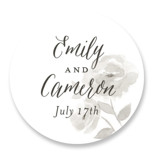 This is a grey wedding favor label by Jill Means called Watercolor Floral with standard printing on uncoated sticker paper in sticker.