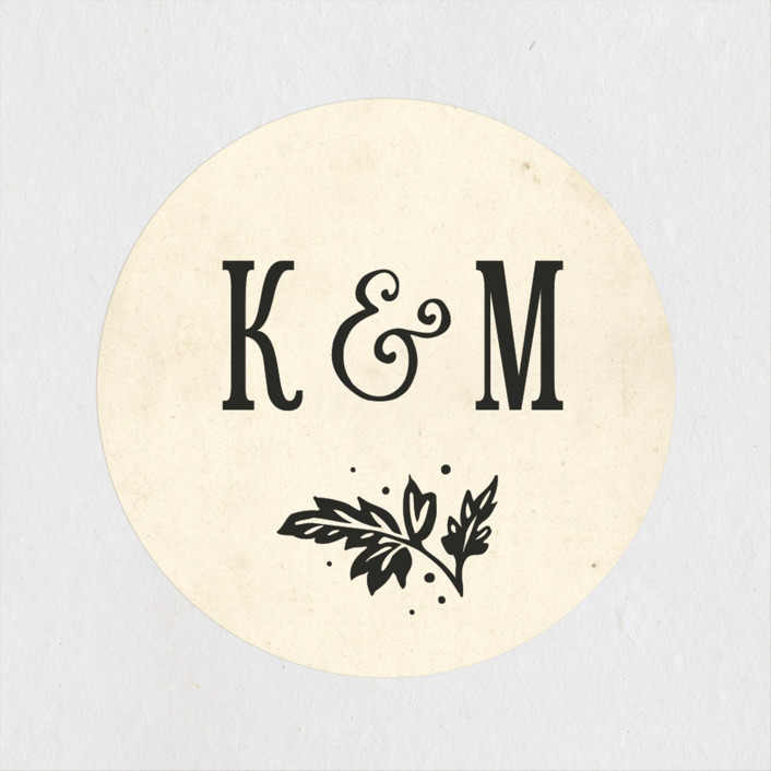 """""""Inked"""" - Vintage, Rustic Wedding Favor Stickers in Parchment by GeekInk Design."""