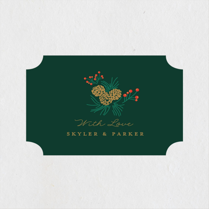 """""""Holiday Wedding"""" - Wedding Favor Stickers in Pine by Nazia Hyder."""
