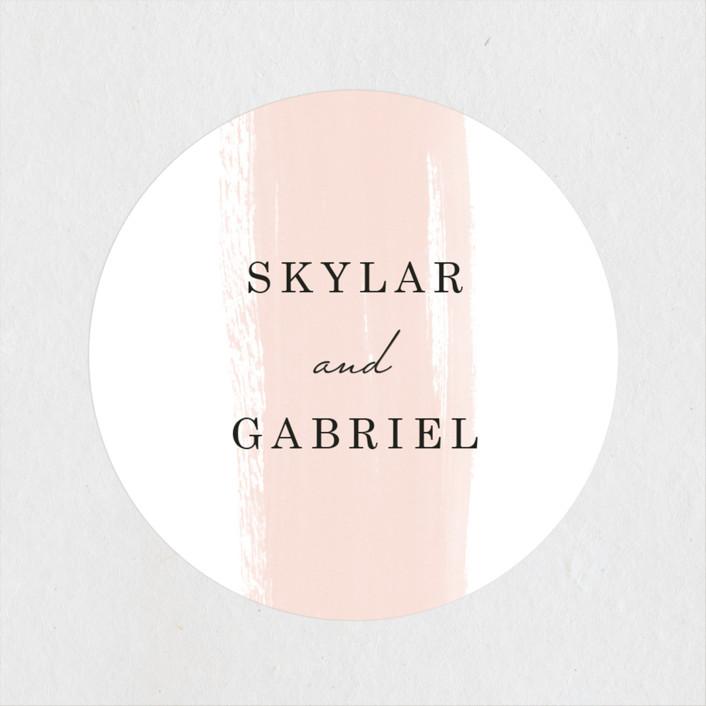 """Single Swath"" - Wedding Favor Stickers in Blush by Angela Marzuki."