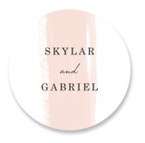 This is a pink wedding favor label by Angela Marzuki called Single Swath with standard printing on uncoated sticker paper in sticker.