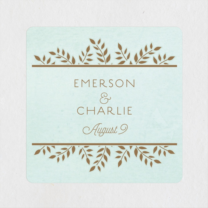 """Elegant Lines"" - Vintage Wedding Favor Stickers in Sky by Chris Griffith."