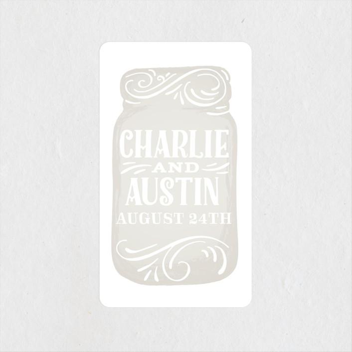 """""""Joyful Jar"""" - Bohemian, Rustic Wedding Favor Stickers in Beige by Jessie Steury."""