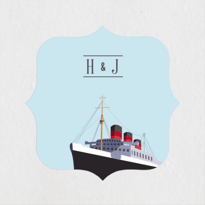 """Queen Mary"" - Wedding Favor Stickers in Sky by Jazmin B. Marquez."