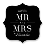 This is a black wedding favor label by Lauren Chism called Classic with standard printing on uncoated sticker paper in sticker.