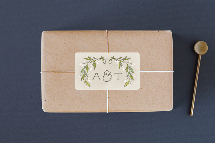 """""""Rustic Love"""" - Rustic Wedding Favor Stickers in Parchment by GeekInk Design."""