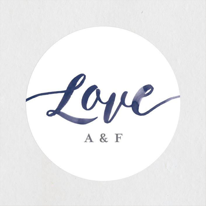 """Love"" - Wedding Favor Stickers in Navy by Four Wet Feet Studio."