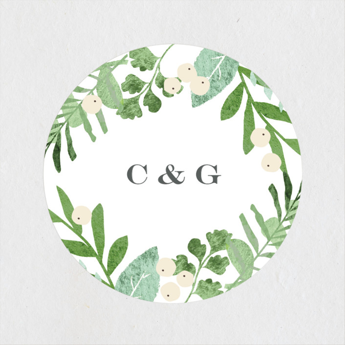 """""""Leafy ampersand"""" - Wedding Favor Stickers in Mint leaf by Jennifer Wick."""