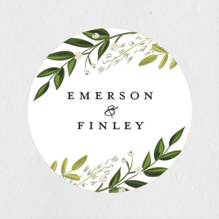 Vines of Green Wedding Favor Stickers
