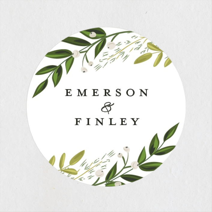 """Vines of Green"" - Wedding Favor Stickers in Fern by Susan Moyal."