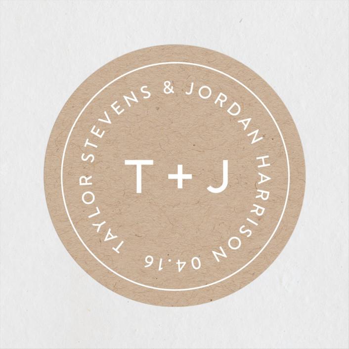 """Modern Stamp"" - Modern Wedding Favor Stickers in Kraft by seulghi."