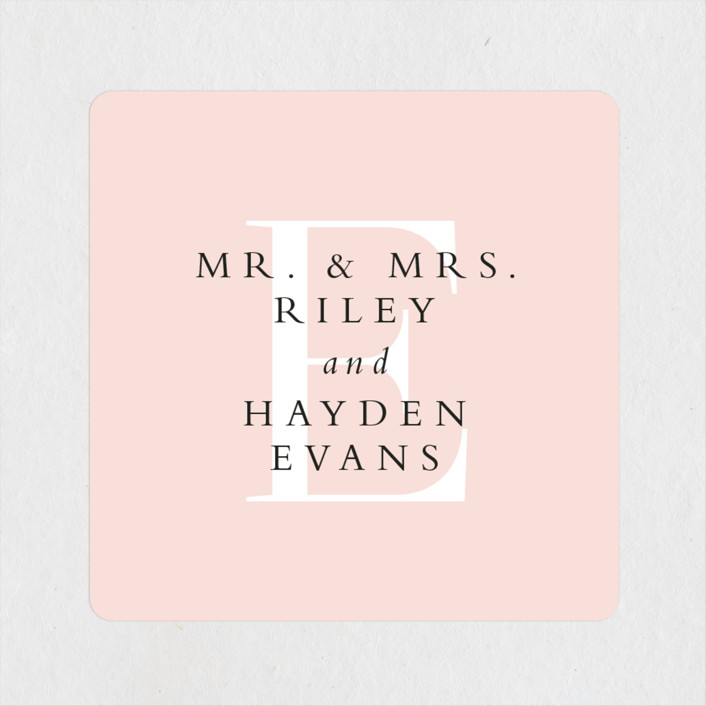"""over and over"" - Wedding Favor Stickers in Soft Peach by Lea Delaveris."