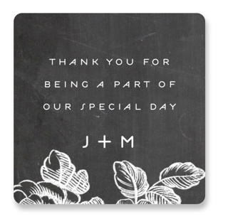 Chalkboard Flora Wedding Favor Stickers