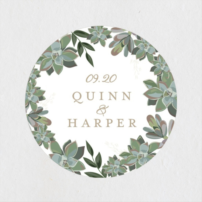 """""""Succulent Surround"""" - Wedding Favor Stickers in Cloud by Susan Moyal."""