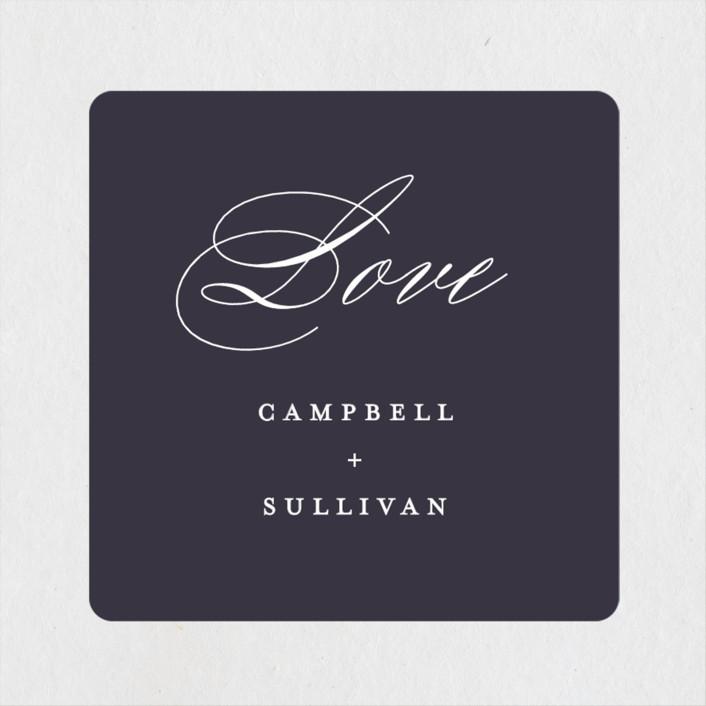 """Prelude"" - Wedding Favor Stickers in Denim by Susan Brown."